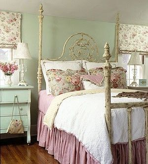Gorgeous, absolutely, wonderfully gorgeous! #bedroom #shabby #chic #vintage #aqua #pink #girly #home #decor #bed: Chic Decor, Style, Four-Post, Vintage Bedrooms, Cottages, Beds Frames, Guest Rooms, Bedrooms Ideas, Shabby Chic Bedrooms