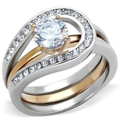adele two tones rose gold interlocking wedding ring set - Interlocking Wedding Rings