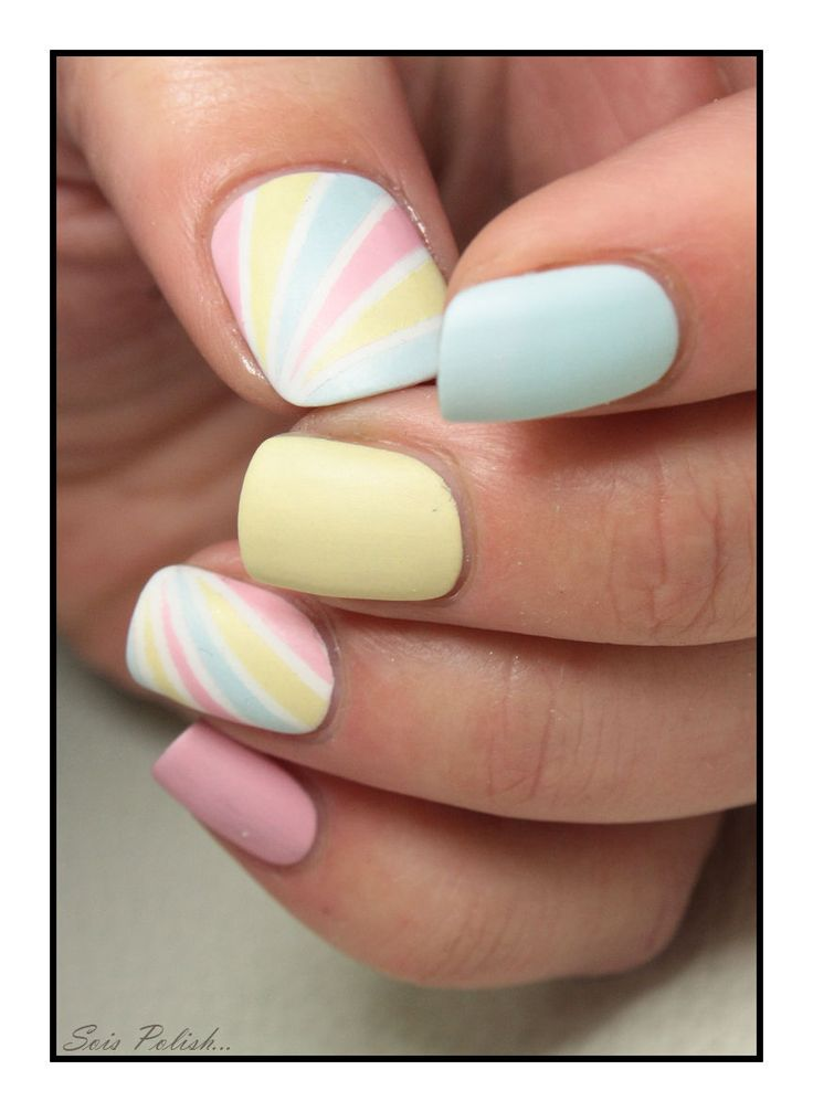 I'm obsessed with my pastel polish. A little bit of (very) thin tape and a steady hand makes this a pretty easy design!