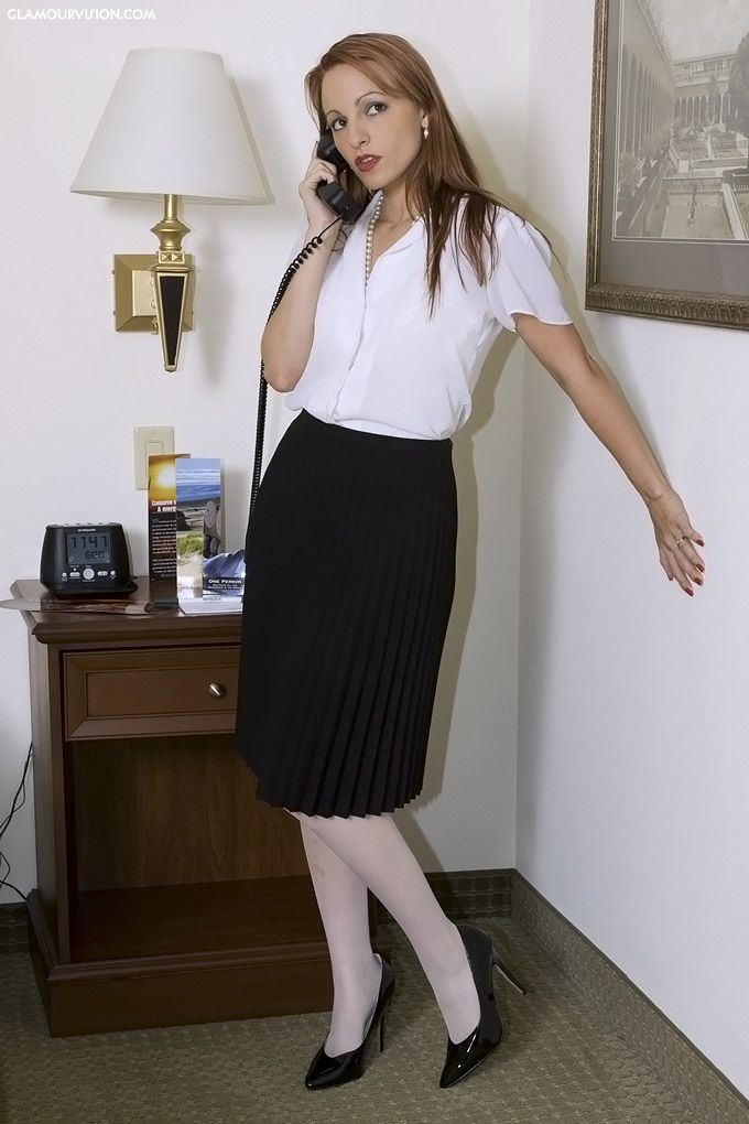"""virtuouschristianladesinpleats: """"This virtuous Christian lady loves how nice her black accordion pleated skirt looks, over her white pantyhose covered legs! """""""