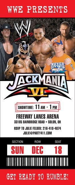 "Cool invite for Wrestlemania night...Wrestling / Birthday ""JackMania"" 