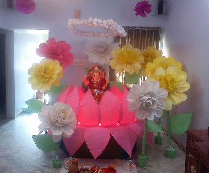 186 best ganpati decoration ideas images on pinterest for Background decoration for ganpati