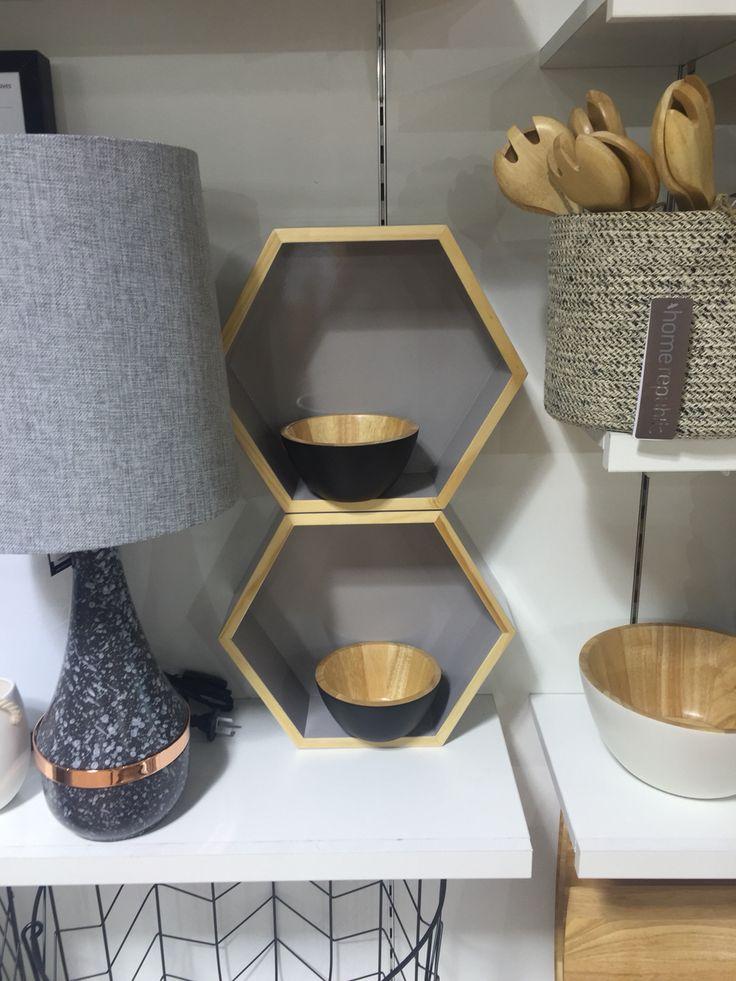 Hexagonal shelves in grey