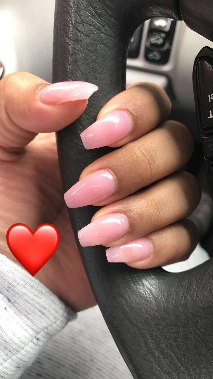 Coffin shaped natural shimmery pink acrylic nails  nail