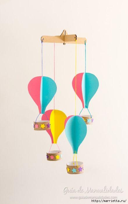 Para la habitación de un niño.  Mobil con globos con sus manos (1) (440x700, 99Kb)