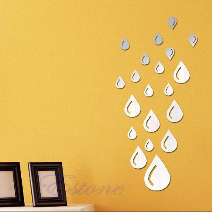 F85 Бесплатная Доставка Зеркало Стиль Серебряная Капля Акриловые Стены Стикеры Ванная Комната 3D DIY Home Decor