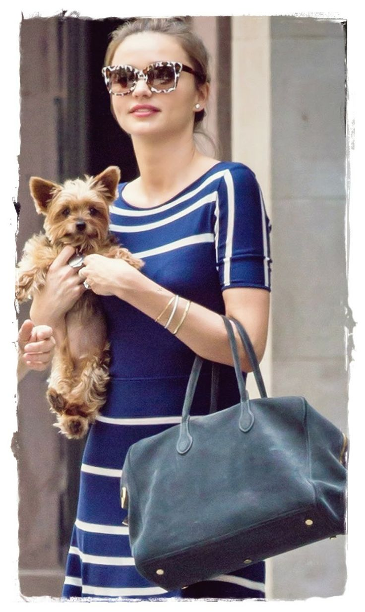 #Miranda #Kerr Handbags Style - Stylish Suede Bowler Bag |  Miranda Kerr accessorized with a stylish suede bowler bag on one arm and a cute puppy on the other while strolling in NYC.Miranda teamed her blue and white striped dress with a pair of leopard print rimmed sunglasses. Miranda Kerr took her dog for a stroll looking a little too fashionable in a candy striped red outfit.