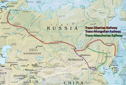 Trans-Siberian Railway: http://www.frontiersoftravel.com/maps/Trans-Siberian_Railway_routes.gif