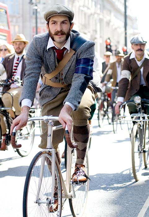 The Tweed Run. Classic bicycles, lots of tweed, handlebar moustaches, sideburns, afternoon tea and London. Oh yes, what's not to love!