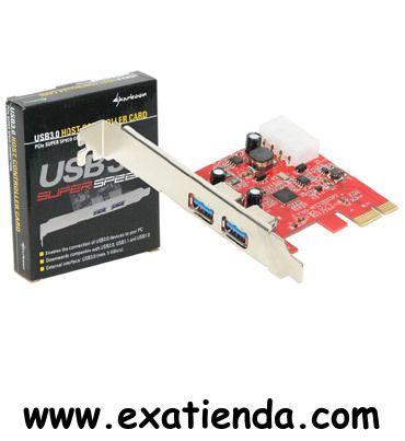 """Ya disponible Control. sharkon 2 ptos USB 3.0 PCIEX 1x    (por sólo 24.89 € IVA incluído):   - Fabricante: Sharkoon - Chipset:NEC PD720202 - Interfaz: PCI–Express 2.0 x1 - Versión USB: 3.0 - Velocidad de transferencia: 5 Gb/s - Conector USB 3.0 """"A"""" hembra: 2 - Conector de alimentación Molex 4 pines, macho: 1 -Alimentación por puerto: 5 V - Corriente suministrada por puerto: 900 mA - Sistemas operativos soportados: Windows XP/Vista/7 (32/64 bit) - Dimensiones: 68 x 55"""