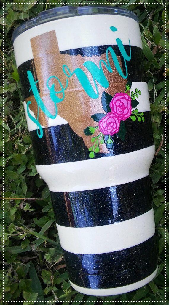 Black & White Striped Texas Yeti by ShopQueenBCo on Etsy