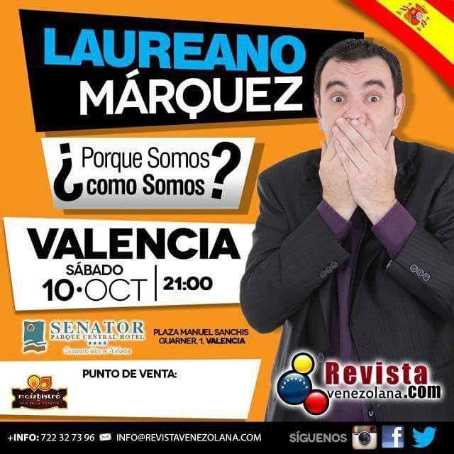 Todavía tienes la oportunidad de disfrutar de @Laureanomar en Valencia España y su show Por qué somos como somos? Adquiere tus entradas en los siguientes puntos de venta: Valencia: Maíz Bistró: Carrer de Sueca 46 Teléfono: 687 03 18 94  Maracaibo Olé: Carrer de l'Herba 4 Teléfono: 653 31 08 99  Heladeria Amorino: Plaça de Sant Llorenç 2 Teléfono: 963 91 53 19  #Show #España #Humor #Venezuela #VenezolanosEnEspaña #VenezolanosEnElExterior