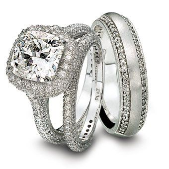 Martin Flyer Platinum Beaded Round Diamond Engagement Ring With A Cushion Cut Center And Matching Wedding Bands From Rachel Zoes