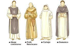 Este es un esquema con los distintos tipos de vestimentas que llevaba el clero.