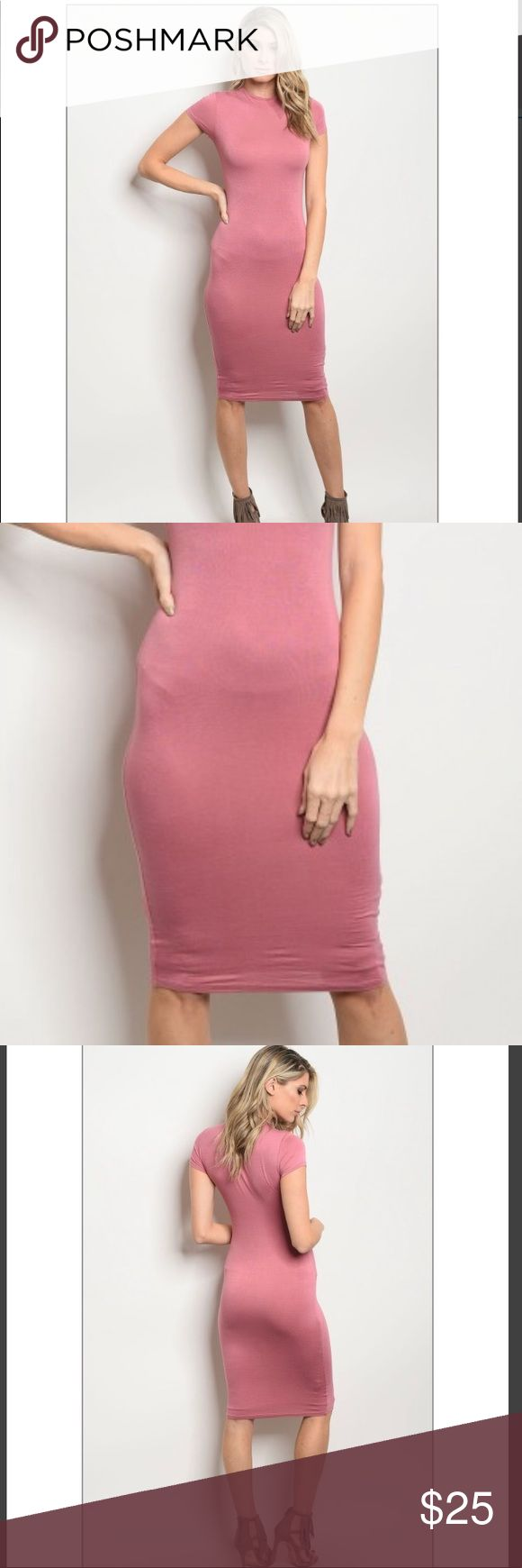 Rose bodycon dress **Boutique Item   Very beautiful sexy dress for an everyday outfit or for Valentine's Day!  Short sleeve fitted double lined bodycon dress that features a mock neckline   **No Offers accepted ** Dresses Midi