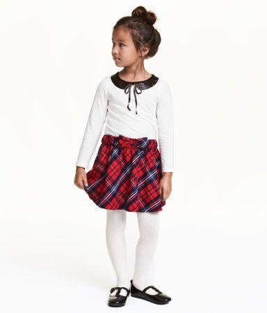 Kjol med rosett | Röd/Rutig | Barn | H&M SE