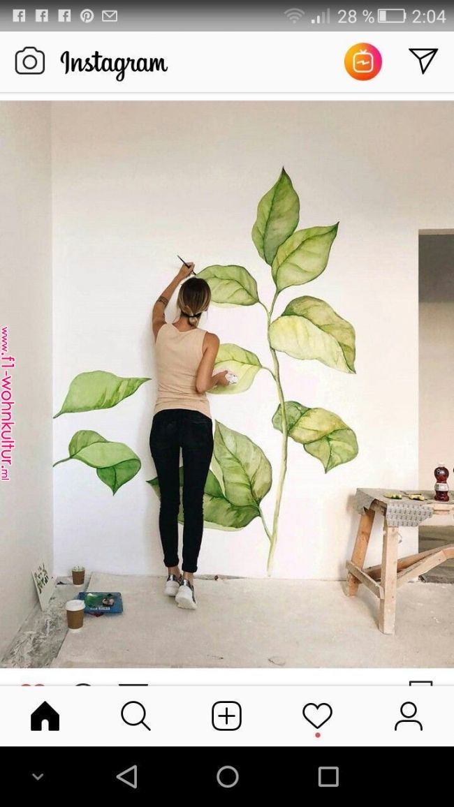Leaves On A Wall Gorgeous Ideas For Decorating Home In 2019 Pinterest Wall Murals Wall And Wall Design Leaves Mural Art Wall Painting Wall Murals
