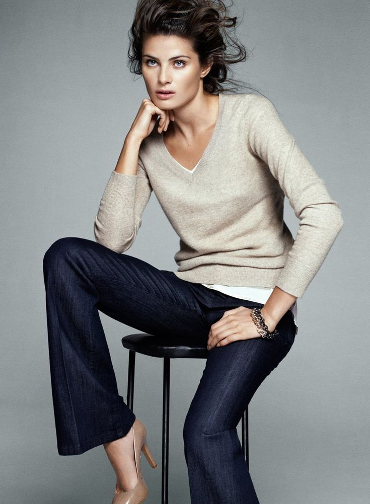 "Isabeli Fontana for Mango ""Simplicity"" Collection.  Simple sweater + bootleg jeans + nude pumps."