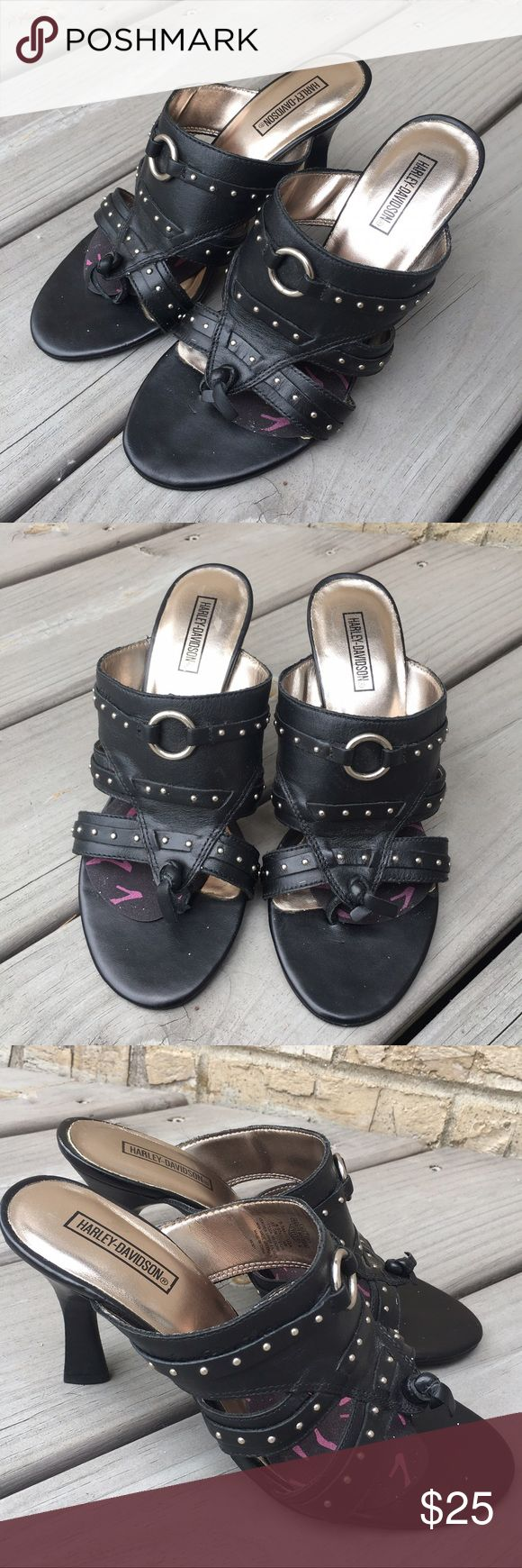 Harley Davidson MotorCycles Black Leather Slides Size 6.5 M Have gel inserts glued to the inside.  Pre-owned, good condition - see pictures for details. Happy poshing! :) Harley-Davidson Shoes Heels