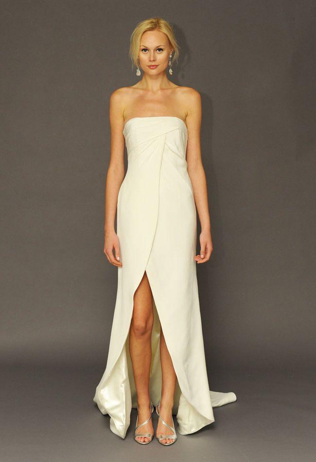 High Slit Strapless Wedding Dress   Alyne by Rita Vinieris   Kurt Wilberding   The Knot Blog