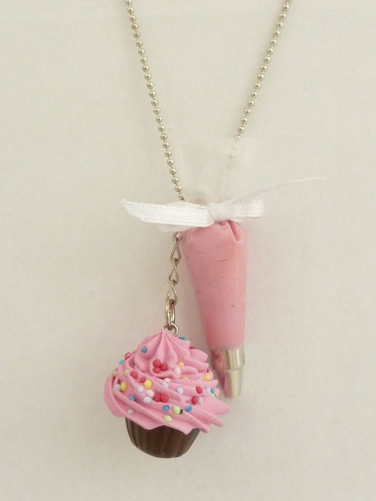 The Bakers Necklace sweet pink Cupcake necklace with pink Pastry Bag charm great as tea party necklace.