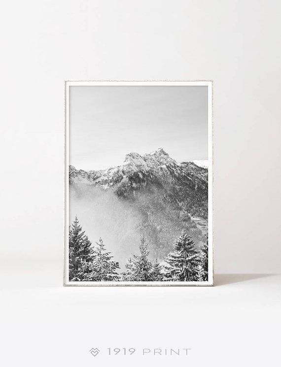 Mountain Range Monochrome Downloadable Prints Black And White Nature Prints Mountain Print Mountain Poster Art Above Bed Poster Art Mountain Art Art Above Bed