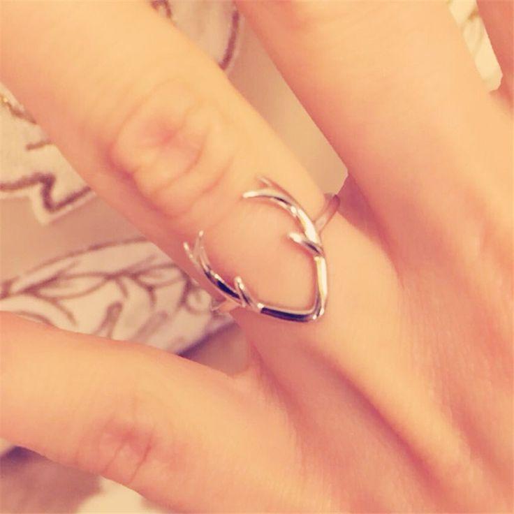Aliexpress.com: Comprar Sólido 925 anillo esterlina de la astilla cornamenta de los ciervos de la joyería moda Deer anillo asta en plata joyería el envío gratis de anillo de la joyería del molde fiable proveedores en Lucky Boy Jewelry