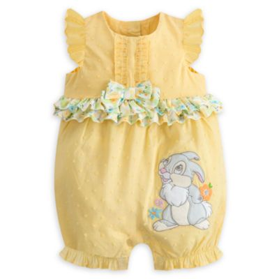 Your little ray of sunshine will look even sunnier wearing our Thumper romper. The cheery yellow polka dot design features appliqué of the lovable rabbit from Bambi, a cute bow and floral patterned frills.