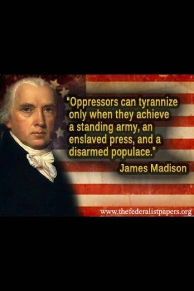 So, they have the standing army, and the enslaved press.  One more reason to stand up for our 2nd amendment rights.  If we are disarmed, we at subjects, not citizens.