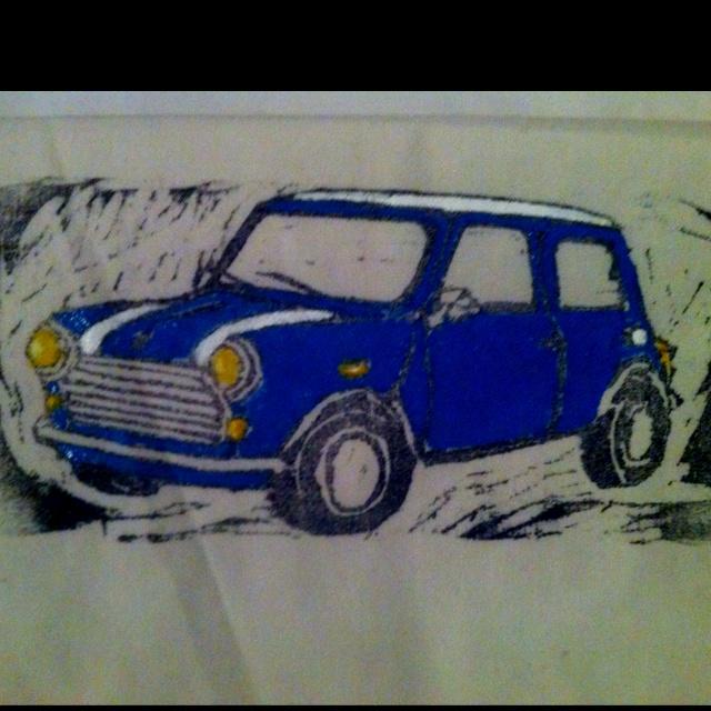 Woodcut print of a mini on calico.  (c) Niamh Murray 2010