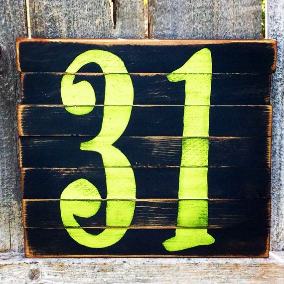 Halloween Decor Reclaimed Wood Number 31 Sign by ladybugsspot