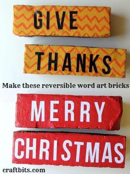 Create these fun holiday bricks that are reversible to display a Christmas saying and something for Thanksgiving. Very cute for your yard.