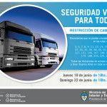 Restricción a la circulación de camiones por fin de semana largo por el día de la Bandera