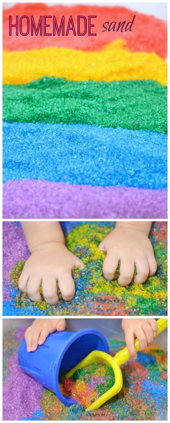 Homemade taste-safe colored sand. Great for babies & toddlers still in the mouthing stage & so much cheaper than the store bought stuff! {only 2 ingredients}