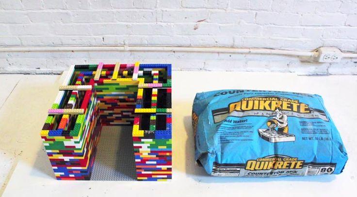 Betontisch aus Legosteinen