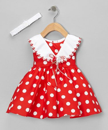 Take a look at this Red Polka Dot Tie-Back Dress  Headband - Infant by Shanil on #zulily today!
