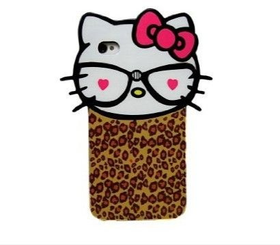 Leopard Big Head Cat Back Cover Skin Case for iPhone4 4S 5Iphone 3 Cases Hello Kitty