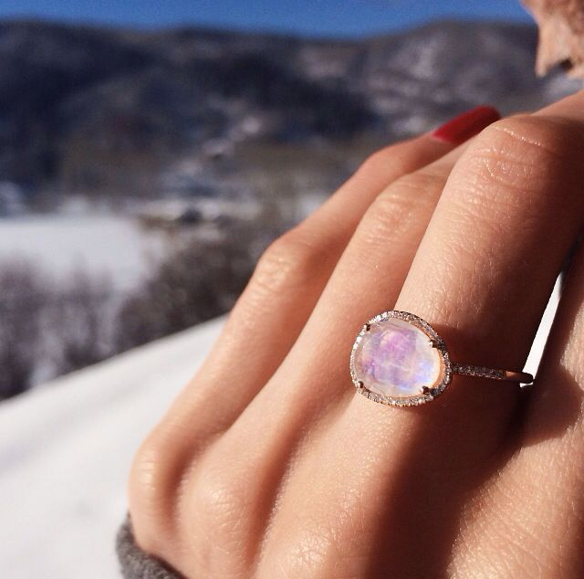 14kt rose gold and diamond moonstone ring – Luna Skye by Samantha Conn