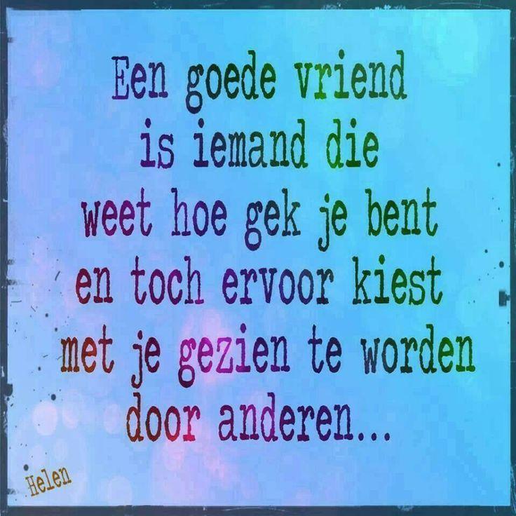 'Een goede vriend is iemand die weet hoe gek je bent en toch ervoor kiest met je gezien te worden door anderen.'