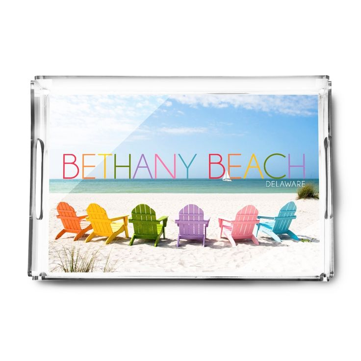 Bethany Beach DE Colorful Beach Chairs LP Photo (Acrylic Serving Tray)