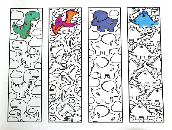 Cute Dinosaur Bookmarks - PDF Zentangle Coloring Page ...