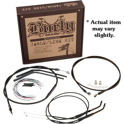 "Burly 12"" Ape Hanger Handlebar Cable Wire Kit for 0708 10"
