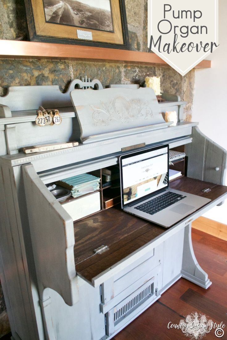 I adore this makeover of an old pump organ into a organized desk with loads of storage. Storage in the bottom too! Click to see more! | Country Design Style | http://countrydesignstyle.com