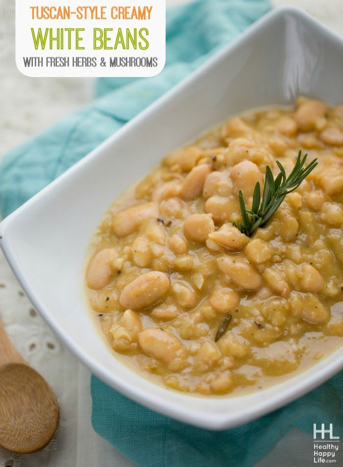 Tuscan-Style Creamy White Beans with Mushrooms and Fresh Herbs from Healthy, Happy, Life. I am excited about going to Italy in March! Can't wait to eat food like this!