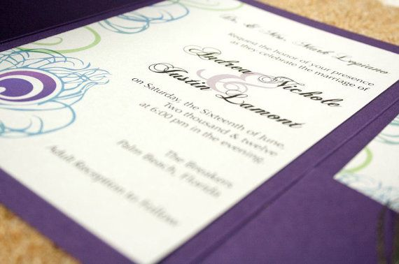 Purple Peacock Trifold Wedding Invitation by alopiano on Etsy, $5.00