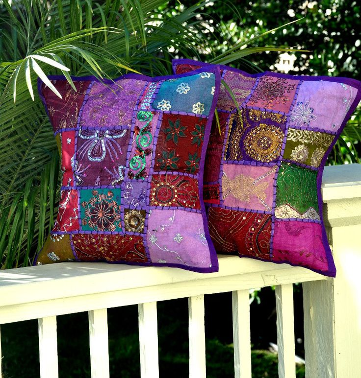 Hand crafted, embroidered pillow cover with a Purple color base... . Vintage patches from wedding saris & dresses from India are patched together at random to create a collage like effect. The result