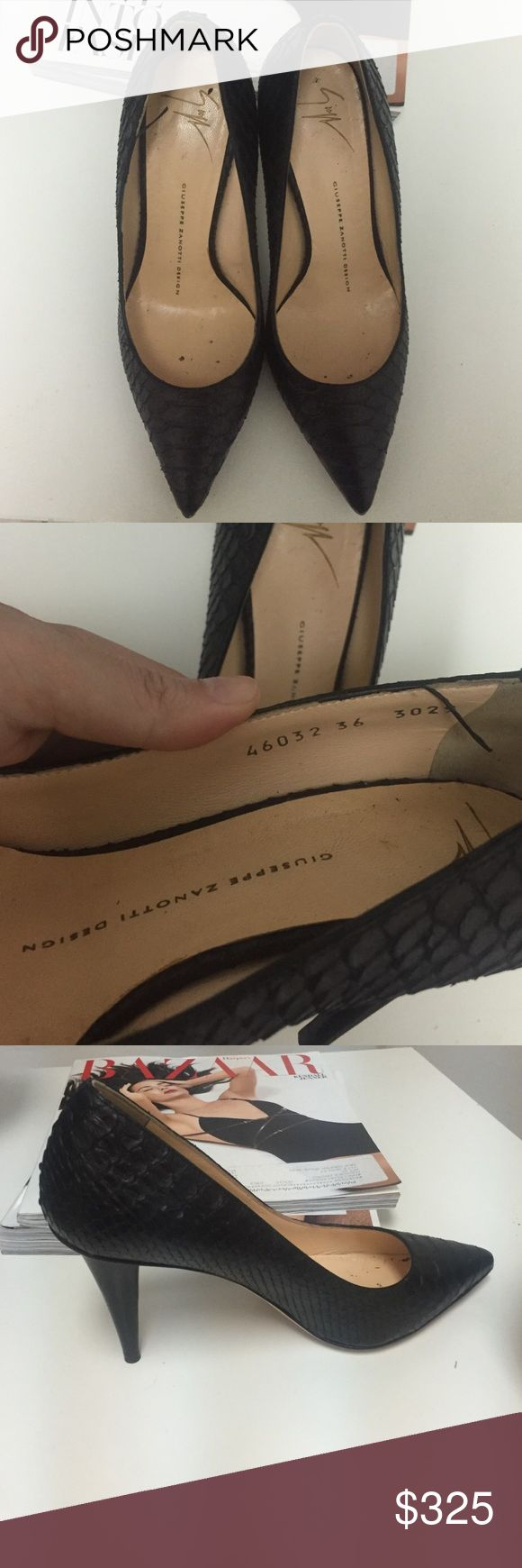 Giuseppe heels Black snake textured heels. Perfect height for work and walking around town. Great condition! Giuseppe Zanotti Shoes Heels