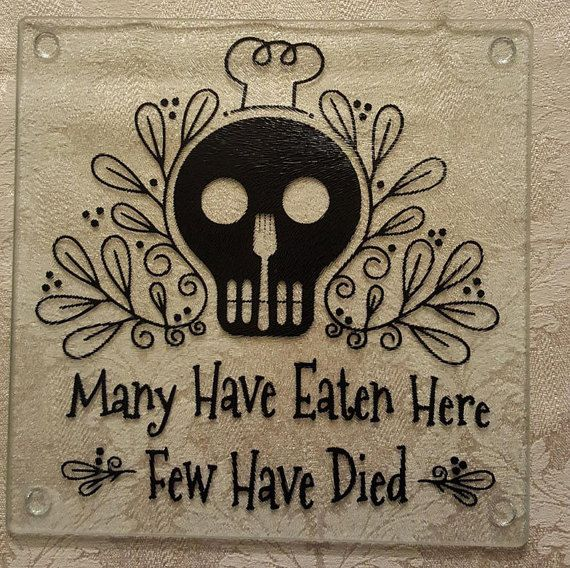 Glass Cutting Board Sugar Skull Goth by ShoeBoxSnapShots on Etsy