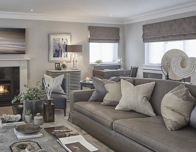 Grey blue and taupe in the rustic chic Esher project #livingroom #lounge…