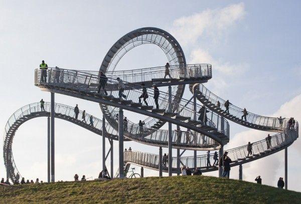 The Tiger & Turtle-Magic Mountain, a pedestrian walkway shaped like a frozen roller coaster.